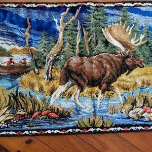 Moose  MEN Fishing LAKE Vintage Tapestry